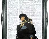 vintage dictionary art ink print 7.75x10.75 inches - cowboy bebop spike spiegel dictionary page prints on dictionary paper