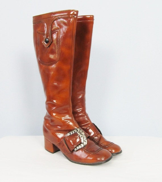 vintage 1960 s boots caramel brown go go boots