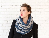 THE SNOWDROP COWL | 24 Color Choices | Chunky Knit Textured Zigzag Chevron Two-Tone Cowl Scarf Neckwarmer