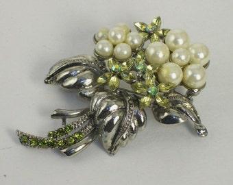 Vintage RMN Pearl & Crystal Floral Brooch 1950's Peridot Wedding Bouquet Brooch