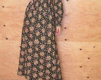 Vintage 70's Black Maxi Dark Prairie Dress Floral Calico Print SZ S
