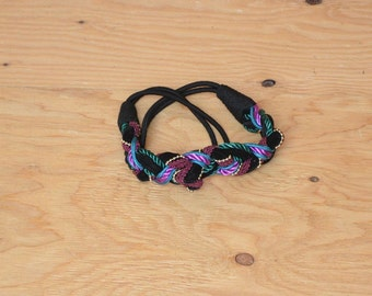 Vintage 80's Black, Bright Purple Teal & Gold Beaded Rope Belt OSFM