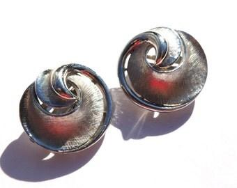 Trifari Vintage Earrings Brushed Silver Clip On Earrings Vintage Jewelry