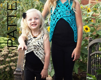Isabelle Girls Vest Crochet Pattern - PDF