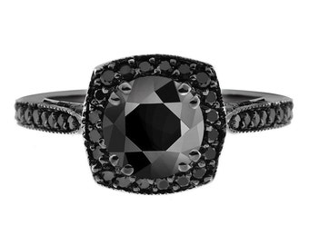 Unique Halo Engagement Ring, Black Diamonds Engagement Ring, 2.25 Carat Bridal Ring, Vintage Style 14K Black Gold Pave Certified