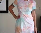 womens watercolour watercolor shift dress print retro vintage style sleeves