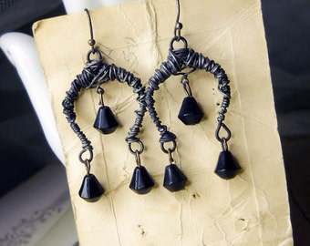14 DOLLAR SALE Rustic Chandelier Earrings - Handmade Steel Crescent Connectors, Vintage Japan Glass Teardrop Beads -  Dark Arts