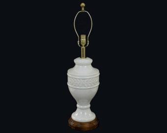 Neoclassical Ceramic Urn Lamp White Crackle Glaze Acanthus Leaves