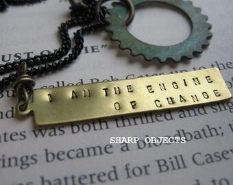 I Am the Engine of Change - mens unisex layered steampunk charm necklace, stamped brass tag & antique industrial gear hardware metalwork