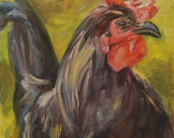 Sale, Rooster, Kitchen Art, Black Rooster, chicken, barnyard animal, wall decor, rooster head, Original oil by Carol DeMumbrum