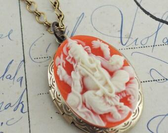 Locket Necklace - Elephant Necklace - Ganesh Necklace - Elephant Jewelry - Orange necklace - Vintage Brass jewelry - handmade jewelry