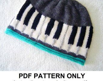 Knitting Pattern - Piano Hat Pattern - Musical Knitting Pattern - Beanie Pattern the BEETHOVEN Hat (Baby & Adult sizes incl'd)