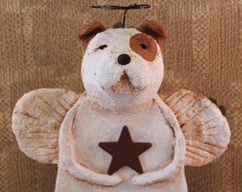 English Bulldog Angel OOAK ,Hand-sculpted Paper Mache,English Bullie