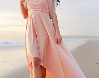 HIGH/LOW Long Nautilus Peach Satin Octopus Convertible Wrap Gown- Bridesmaids, Wedding, Prom, Etc.