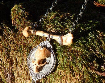 Real Mouse Skull with bones and chains OOAK necklace