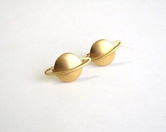 saturn cufflinks . golden saturn cuff links