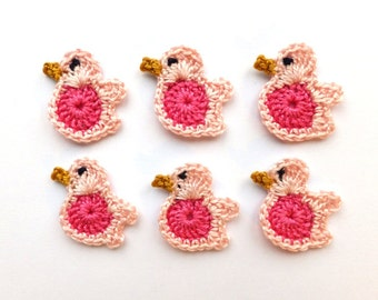 Crochet birds applique - baby shower favors - gender reveal party gifts - kids party decorations - pink birds - blue birds - set of 6