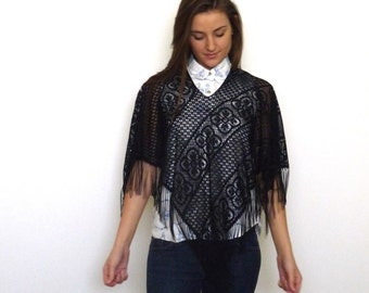 80s Gothic Black Cleopatra Lace Fringed Capelet Free Size