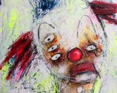 Textured Abstract Painting, original clown painting, bright colorful art, outsider art.