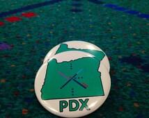 PDX Carpet - Portland Oregon - Pinback Button, Magnet, Zipper Pull, Mirror, or Bottle Opener