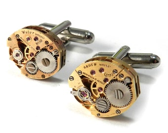 Steampunk Cufflinks SOLDERED Cuff Links - Gilded Gold Cuff Links - Mechanical Watch Movement - Steampunk Cufflinks