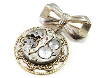 Refined Steampunk Brooch Lapel Pin - Brass Antique Jewel Bearing Watch Movement Pin - Vintage Pin, Victorian Steampunk Jewelry