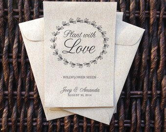 Plant with Love /// Kraft Paper Flower Seed Favor Envelopes /// Wedding or Baby/Bridal Shower