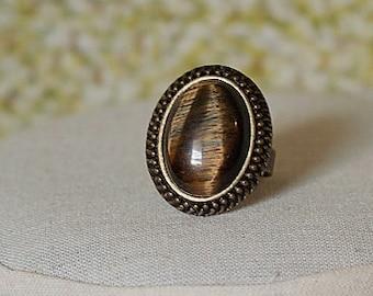 Tigereye Ring Brown Gemstone Ring Brown Ring Brown Stone Ring Antiqued Gold Ring Tigereye Gemstone Ring Oval Tigereye Ring Oval Brown Ring