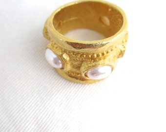 Designer Statement Ring Gold Pearls JKL Kenneth J. Lane  Jewelry SZ 9 Bold Ring Bold Jewelry Tribal Look