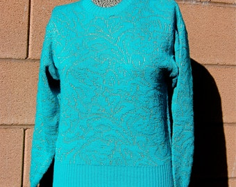 Vintage 1980's Turquoise and Gold Nils Sweater