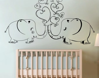 Vinyl Wall Decal Sticker Elephants In Love 1517m