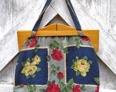 SALE Beautiful Vintage BARK CLOTH Handbag Wooden Frame