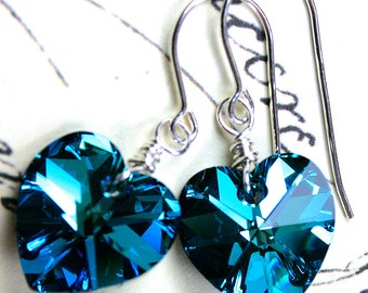 Bermuda Blue Swarovski Crystal Heart Earrings - Blue Hearts -  Wire Wrapped with Sterling Silver and Swarovski Crystal