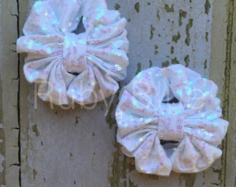 White Sparkle Piggy-Tail Clips - Mini Messy Bow Clips
