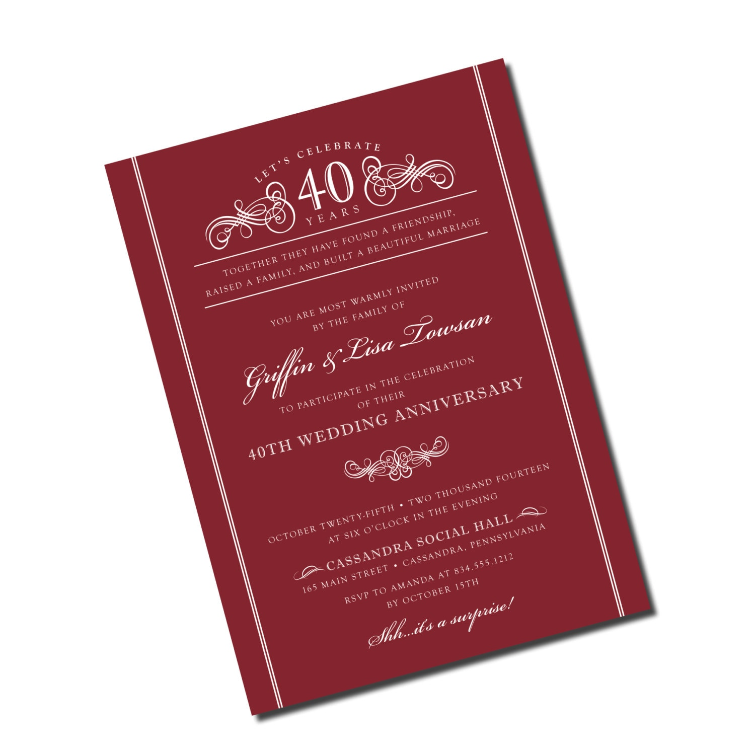 40th wedding anniversary invitation ruby red personalized for 40th wedding anniversary invitations