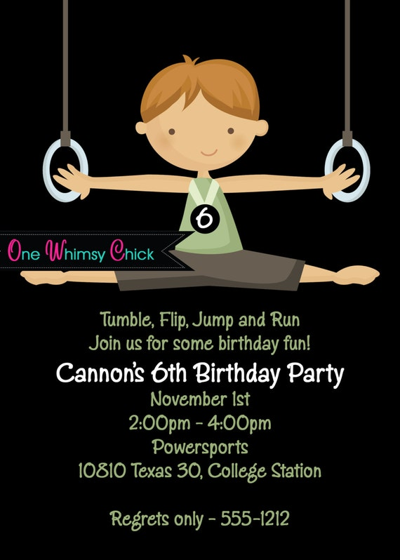 Boy Gymnastics Birthday Invitation, Printable Party Invite