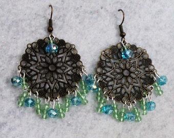 Boho Earrings, Bohemian Earrings, Chandelier Earrings, Bohemian Jewelry, Gypsy Earrings, Gypsy Jewelry, Blue and Green, Swarvoski Crystal