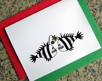 angler fish couple christmas gift exchange notecards thank you tim burton inspired (blank/custom inside) with colored envelopes - set of 10