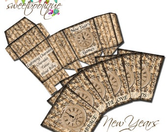 New Years Game - Instant Download - Printable - Reusable - 4 Games in One