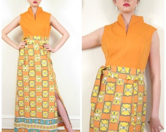 Vintage 1970s Boho Party Dress in Orange Print / 70s Sleeveless Maxi Dress with Matching Belt / Medium