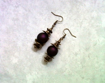 Dark Grape Frosted Earrings (1884)