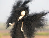 Waldorf inspired Needle felted Black angel Art doll Home decoration