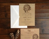 Oak Tree Rustic Wedding Invitation Suite, Kraft Paper Tree Couple Kissing, Rustic Woods Fireflies Wedding Invite, DIY Printable