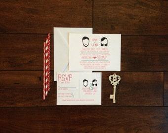 Cartoon Couple Wedding Invite Suite