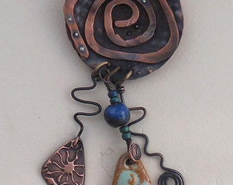 Forged Copper Swirl Shield Pendant with Dangles