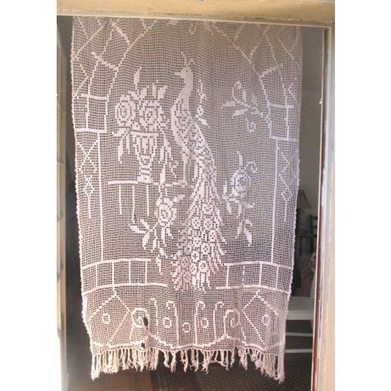 tende di Crochet pavone, francese Filet pizzo pannello, porta tende ...