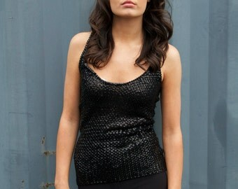 Sandy, Vintage, Black Sequin Racer Back Top, from Paris