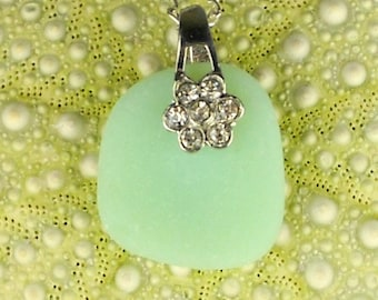GENUINE Sea Glass Jewelry Rare Jadeite Sea Glass Necklace With Flower