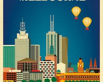 Melbourne Skyline Art Print, Australia Travel Poster, Vertical Melbourne Wall Art, Melbourne  Gift, Melbourne City Art - style E8-O-MEL