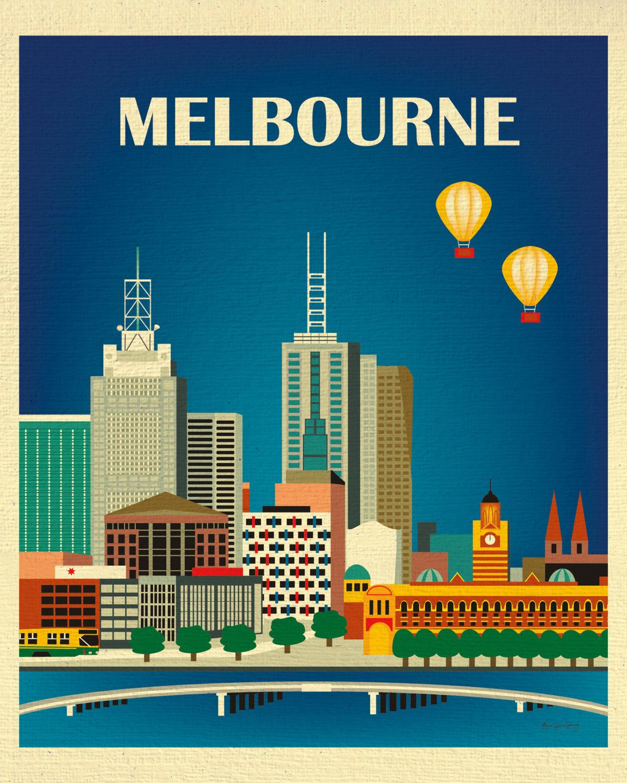 Three Posts Classic Horizontal Wall Décor Reviews: Melbourne Skyline Art Print Australia Travel Poster Vertical